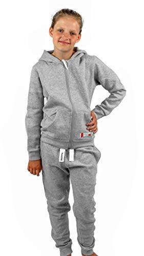 Gennadi Hoppe Kinder Sweat Jogginganzug Sportanzug Trainingsanzug, hellgrau, 158/164