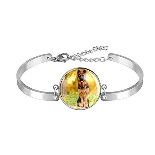 Pulsera, brazalete de acero inoxidable brazalete de regalo de joyería puño pulido estilo de caja de regalo de moda Pastor alemán perro de pie en el árbol para hombres mujeres