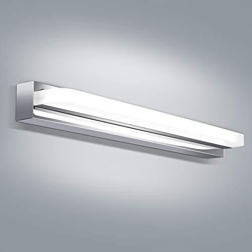 OOWOLF Luz De Espejo, 8W 6000K Lámpara de Espejo Baño Blanco Frío, 700LM 420mm Lámpara LED de Pared Acero inoxidable Para Maquillaje, Espejo, Baño