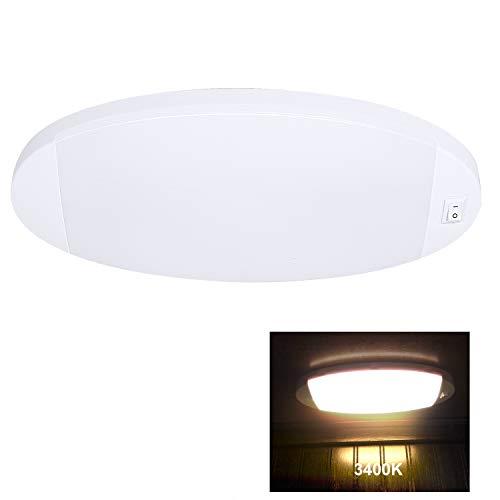 Facon LED Deckenleuchte Innenleuchte mit EIN- / Ausschalter12V 7W Neue ovale Leuchte für Wohnmobile, Reisemobile, Wohnwagen, Anhänger, Boote, Schiffe und Fahrzeuge (Weiß)