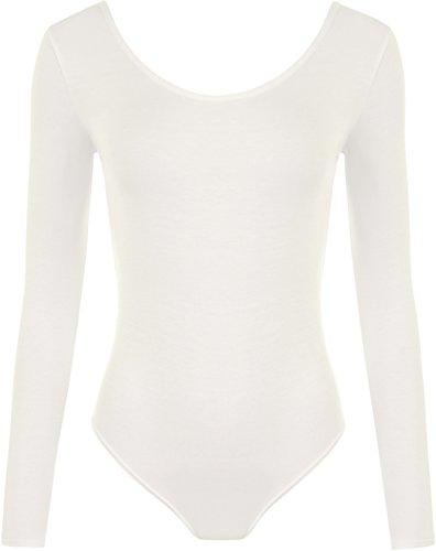 WearAll - Damen Body elastisch Langarm Bodysuit Top - Crème - 36-38