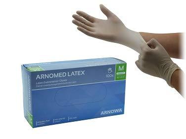 Latexhandschuhe puderfrei Einweghandschuhe Größe M von ARNOMED 100 Stück/Box in gr. XS S M L XL