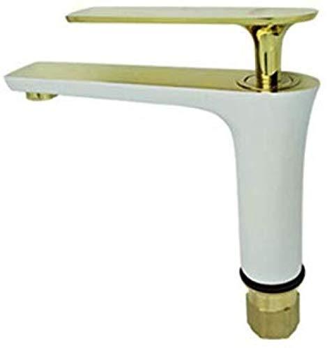 Grifo de fregadero de cobre dorado completo grifo Hans blanco grifo de baño de gama alta grifo