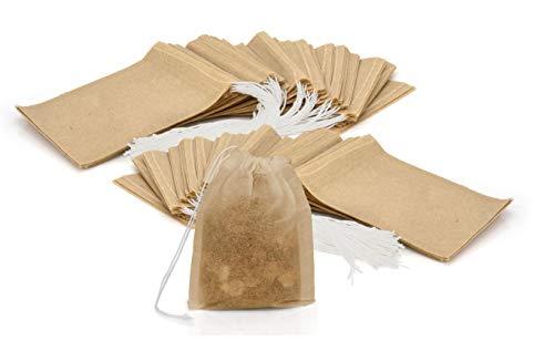 Granny's Kitchen 100 Teebeutel für losen Blatt Tee - Feine Einweg Teefilter leere Beutel für Kräuter, Pulver mit Kordelzug - Filterpapier Ungebleicht