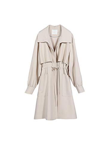 Kurtki Damska płaszcz jesienny sznurek długi płaszcz duży kieszonkowy płaszcz studencki Płaszcze LYNLYN (Color : Beige, Size : Small)