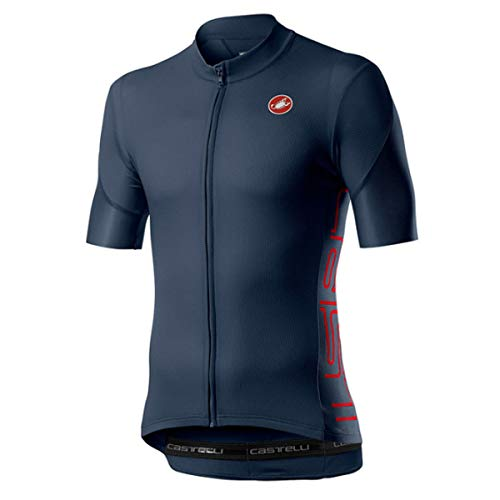 castelli Entrata V Men's Short Sleeve Cycling Jersey, Dark Infinity Blue - Azul, M