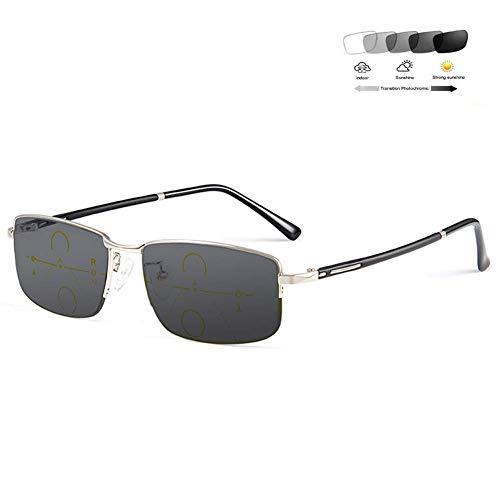 Gafas De Lectura Con Zoom Automático 2020 Para Hombres Gafas De Sol Fotocromáticas Progresivas De Enfoque Múltiple / Uv400 Antideslumbrante Templos Tr90 Suaves Dioptría + 1.0 A + 3.0 Plateado + 2.0