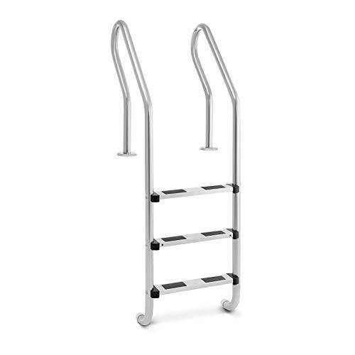 Uniprodo Uni_Pool_Ladder_1600 Poolleiter Edelstahl 3 Stufen Schwimmbadleiter 180 kg Tiefbeckenleiter
