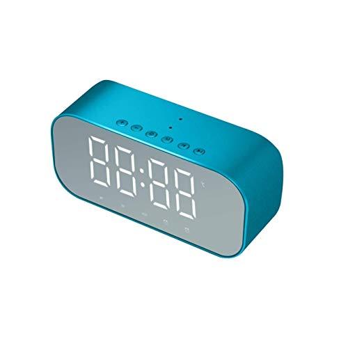 ZLBYB Altavoz de Reloj Despertador con Espejo Multifuncional con Radio FM Reloj Reloj LED Espejo Snooze Reproductor de música inalámbrico subwoofer