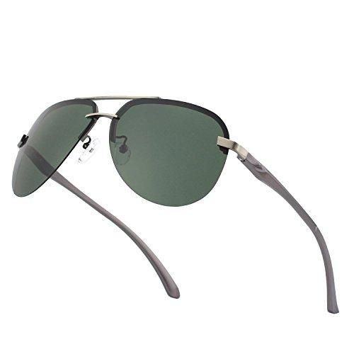 CGID GA43 Aleación Al-Mg premium sin reborde Pilot gafas de sol polarizadas UV400,bisagras de resorte duplicadas completas gafas de sol para Hombres Mujeres