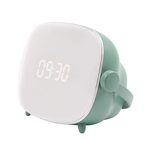 shihang Despertador Digital Led para Niños, Despertador para Niños Y Niñas con Luz Nocturna, Interruptor De Botón Giratorio Silencioso Junto A La Cama Lindo Despertador para Niños,Verde