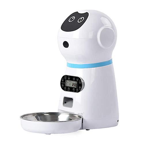Sungpune Alimentador automático del Animal doméstico del Temporizador Triturador de Acero Inoxidable Fuente alimentaria Pantalla LCD para el Blanco Gatito del Perrito