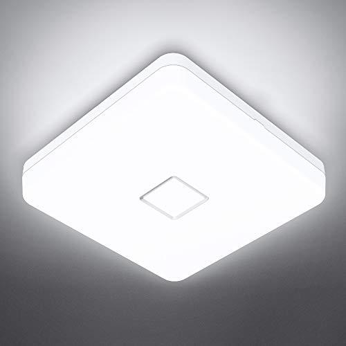 Onforu 24W Led Lámpara de Techo, 2100LM Plafón Led de Tech Cuadrado, 5000K Blanco Frío Luz de Techo Moderna, IP54 Impermeable para Baño, Dormitorio, Cocina, Comedor, Habitación, Balcón, Pasillo