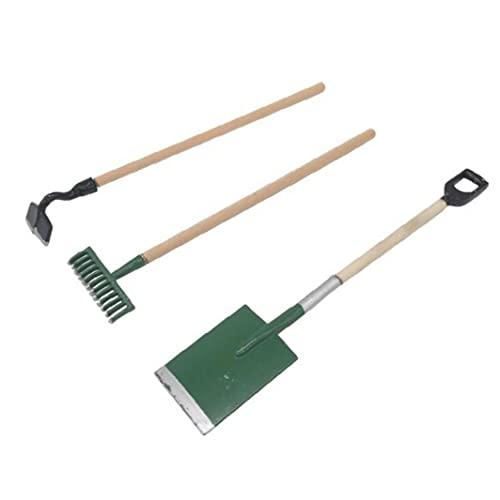 3 szt. miniaturowe narzędzia do trawnika ogrodowego 1/12 domek dla lalek akcesoria robocze z łopatką do grabienia do domku dla lalek lub ogrodu krajobrazu model zielony doskonałe wykonanie