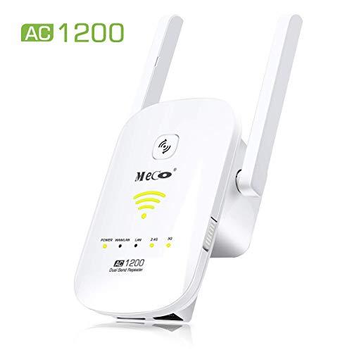 WLAN Repeater, MECO AC1200 Dualband Signalverstärker (867Mbps, 5GHz+300 Mbps, 2,4GHz, 2 LAN-Port, WPS, Seamless Roaming, Repeater/Router/AP Modus) WLAN Range Extender kompatibel mit allen WLAN Geräten