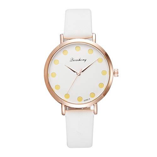 AxiBa Relógios Femininos Casual Xadrez Pulseira Analógica Moda Feminina, Branco