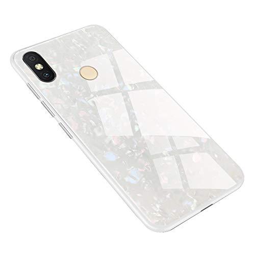 """Shunda Capa para Xiaomi Redmi S2, capa traseira de vidro temperado brilhante [sem protetor de tela] capa protetora rígida antiarranhões para Xiaomi Redmi S2 / Redmi Y2 6,0"""" - Branca"""