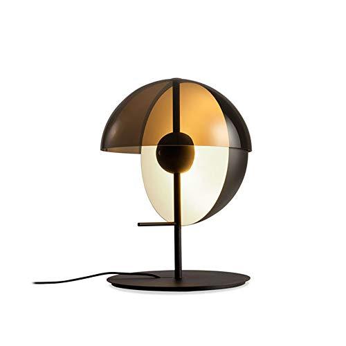 Lampe de table moderne nordique en fer forgé villa chambre table de chevet étude créative lampe de bureau ronde avec abat-jour en verre de luxe (Taille : 35 * 60cm-power switch button)