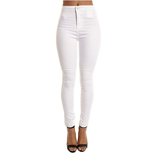 Yue668 - Pantalones vaqueros elásticos para mujer, color liso, cintura alta y cintura alta ajustada, Mujer, blanco, large