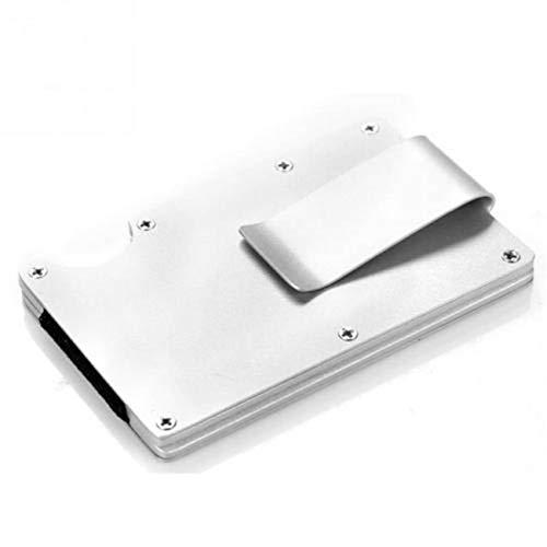 RFID Tarjetero Hombre Bloqueo Cartera De Hombre Mujer Tarjetero Monedero Billetera Juvenil Aluminio Slim para Tarjetas Y Billete 86mm*54mm para Tarjeta de crédito y bancaria (Plateado)