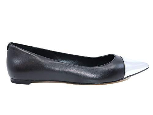 Michael Kors Carissa Toe Ballerine en cuir noir pour femme - Argenté - Black Silver, Medium EU