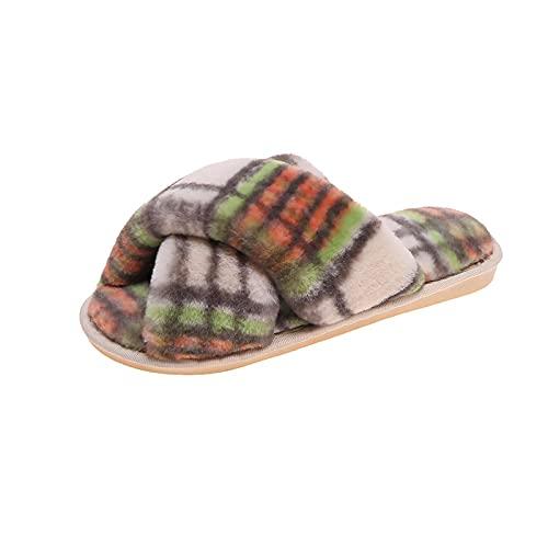 NUGKPRT chanclas,Zapato de mujer para el hogar, piso interior, zapatillas cruzadas, zapatos, diapositivas para dormitorio, punta abierta, cómodo al aire libre, 40-41 (25-25,5 cm) verde