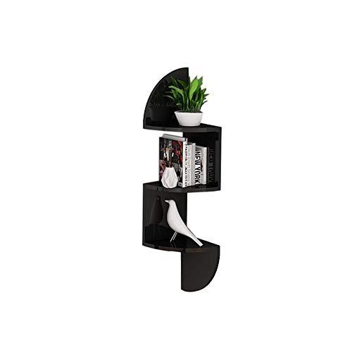 JCNFA planken Fan-vormige muur Frame Hoek Slaapkamer Woonkamer Boekenplank Perfect Trophy Display, fotolijst, Home Decoration 7.87 * 7.87 * 33.26in Zwart