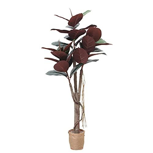 artificial bonsái 59 pulgadas Planta de árbol de goma artificial Ficus Elastica Faux Árbol usado para decoración interior Púrpura 150 cm / 4.9 pies Simulación Potted Plantas grandes Plantas Bonsai