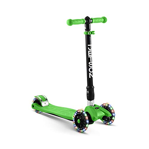 Jetson Twin Folding 3-Wheel Kick Scooter, Green - Light-Up Wheels, Lean-to-Steer Design and Height Adjustable Handlebar, for Kids Ages 5+