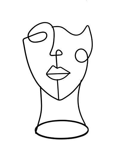 Cozymondo Moderne Deko-Figur: Single-Line-Face-Art | Schwarze Deko Statue im minimalistischen Design als abstrakte Deko für Jede Wohnung | 2 Varianten: Full Face & Half Face (Full Face)