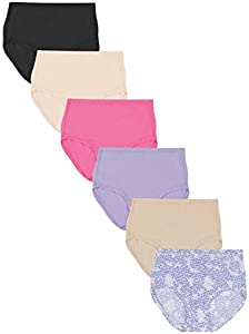 Hanes Women's Comfort Flex Fit Microfiber Brief Panty (Pack of 6), Assorted, Large