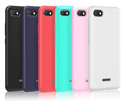 VGUARD [6 Stücke] Hülle für Xiaomi Redmi 6A, Ultra Dünn Tasche Schutzhülle Weiche TPU Silikon Gel Handyhülle Hülle Cover (Schwarz + Blau + Rot + Grün + Rosa + Transparent)