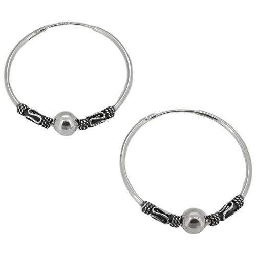 Touch Jewellery 925 Sterling Silver Indo/Bali Style Hoop Earrings with Ball -27mm Diameter