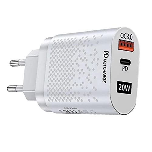 QC3.0 FAST CARGER 20W USB C Adaptador de alimentación PD Wall Enchufe Cargador con doble puertos Cargadores de teléfono móvil blanco,cargador rápido compacto duradero,accesorios de teléfonos