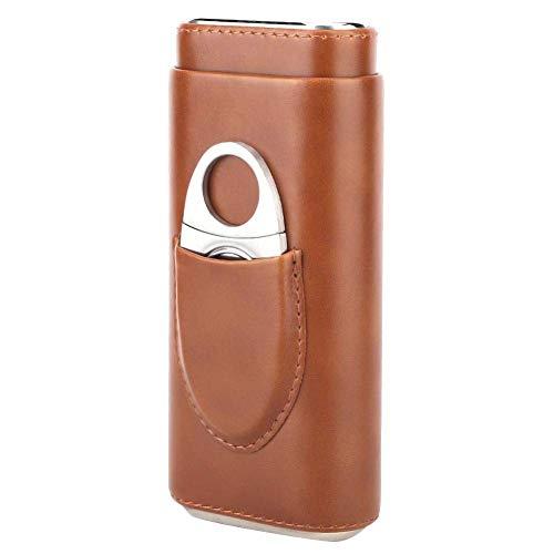 Mini Caja de Cigarros de Cuero de Calidad, Humidor de Cigarros de Cedro de Cuero, Portátil, Portátil, Poner 3 Cedros, Fácil de Transportar, para Viajar, 2 colores, con Cortador de Cigarros(marrón)