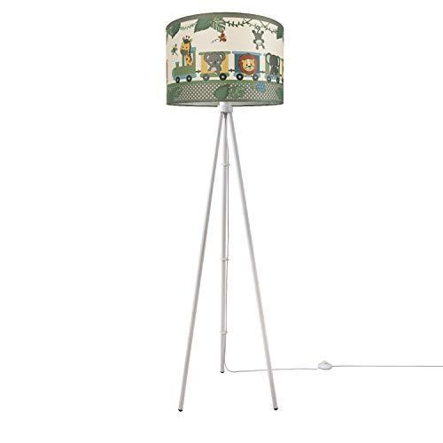 Kinderlampe Stehlampe LED Kinderzimmer Lampe Zug Mit Tieren Stehleuchte E27, Lampenfuß:Dreibeinig Weiß, Lampenschirm:Grün (Ø45.5 cm)