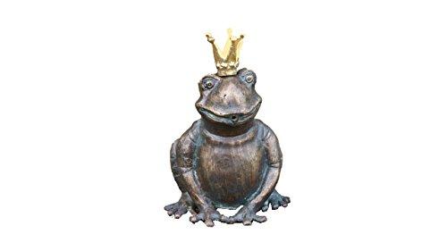 Steinfiguren Horn Bronze Frosch, Wasserspeier Froschkönig, Tierfigur für Garten & Teich