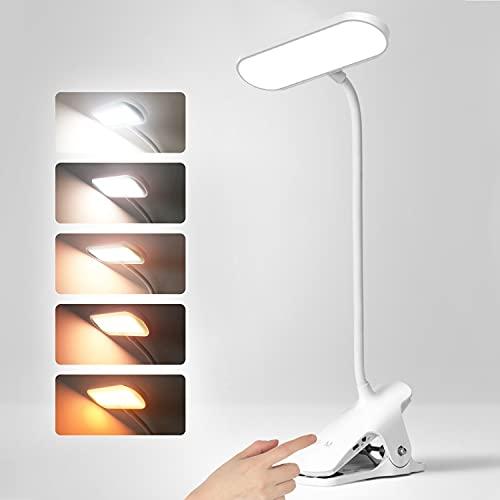 Leselampe Buch Klemme, Buchlampe 36 LED Klemmlampe mit 5 Farbtemperatur 5 Helligkeiten,USB Wiederaufladbare Dimmbare Klemmleuchte Notenständer Licht für Bett Nachtlesung Reisen Schlafzimmer Bücher
