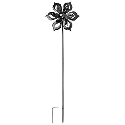 Ideen mit Herz Molinillo de viento de metal, para el jardín, color negro, carillón de viento, decoración de jardín, ideal para pintar y...