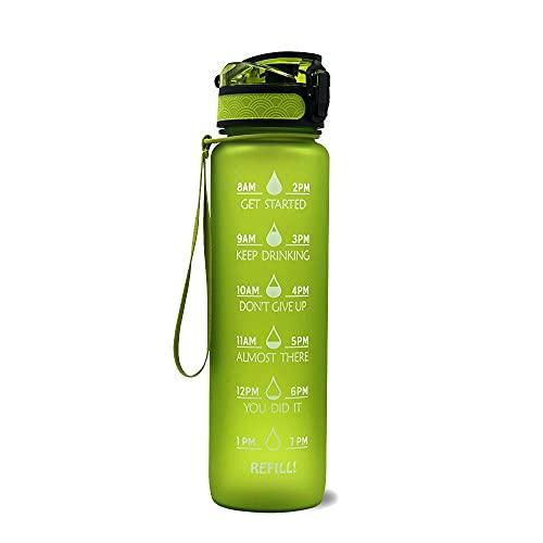 Wenxu - Botella de agua para deportes de 1000 ml con marcador de tiempo y colador extraíble, flujo rápido, tapa abatible a prueba de fugas, duradera, sin BPA, no tóxico, para espacios