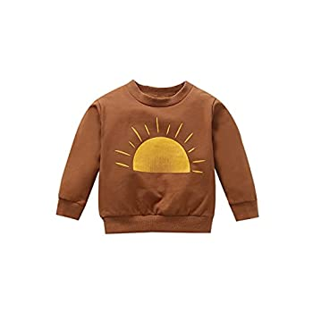 Infant Toddler Baby Girl Sweatshirt Long Sleeve Pullover Top Sweaters Sun Print Shirts Fall Winter Blouses Clothes Brown