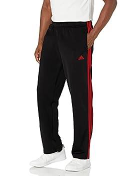 adidas Men s Standard Essentials Warm-Up Open Hem 3-Stripes Tracksuit Bottoms Black/Scarlet Medium
