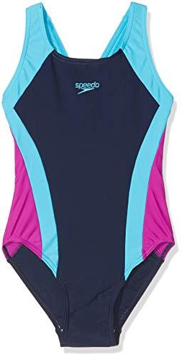 Speedo Contrast Panel Splashback, Costume da Bagno Intero Bambina, Multicolore (Navy/Turquoise/Diva), 11-12 Anni