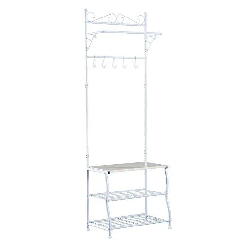 homcom Stand Appendiabiti Attaccapanni per Ingresso Scarpiera a 2 Ripiani 5 Ganci Metallo 60 × 35 × 175cm Bianco
