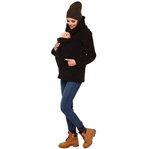 amropi Mujer Sudadera Capucha Portador de Bebé Forro Polar Canguro Portabebé Chaqueta Negro,M