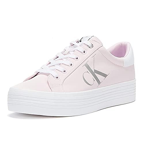 Calvin Klein Damen-Sneaker YW0YW00067, aus Leder, Schwarz oder Pink oder Weiß, ein Schuh für alle Gelegenheiten. Frühling-Sommer 2021, Pink - Pink - Größe: 37 EU