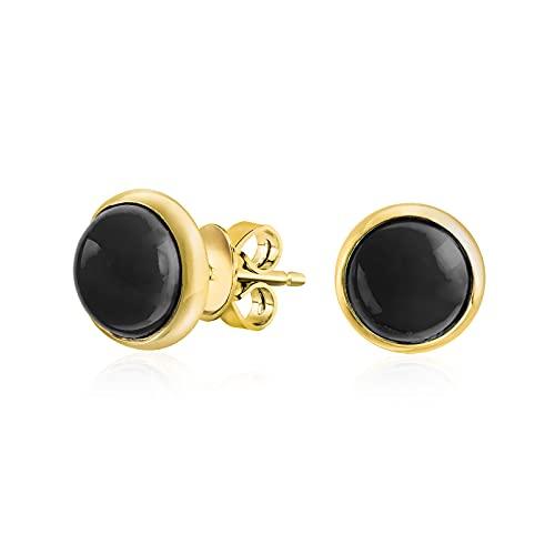 Classic Simple Black Onyx Lunetta Set Round Dome Button Orecchini per donna placcato oro .925 Sterling Silver
