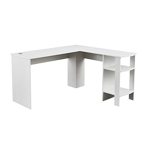 Panana-K Corner Computer Desk, L-Shaped Wood Writing Table Office PC Computer Workstation with 2 Shelves Home Office White