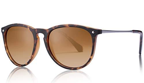 Carfia Carfia Vintage Polarisierte Sonnenbrille für Damen Herren UV400 Schutz Ultraleicht Rahmen