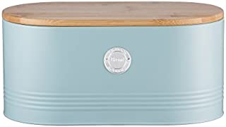 Typhoon Living Carbon Steel Bread Bin with Bamboo Lid, 13-Inches by 7-Inches by 6-1/4-Inches, Blue